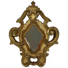 Small 18th Century, Italian Giltwood Baroque Mirror
