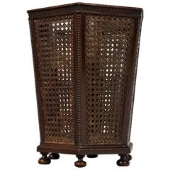 Edwardian 20th Century Octagonal Mahogany and Caned Waste Paper Basket
