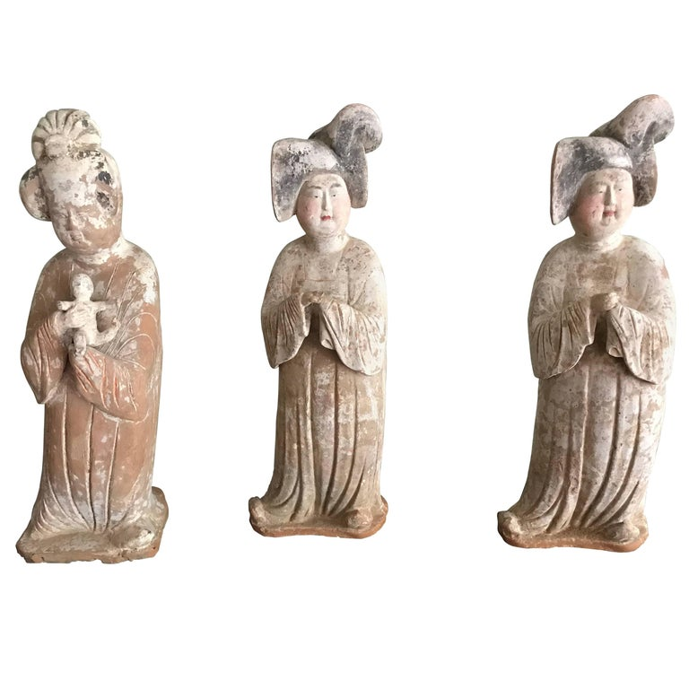 Three Tang Dynasty Fat Ladies 618-907ad Tl Test Authenticity Test  For Sale