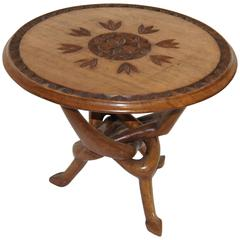 Mid-Century African Carved Tripod Table