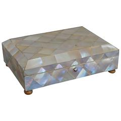 19th Century Mother-of-Pearl Spoon or Jewelry Box with Bone Feet & Silver Hinges