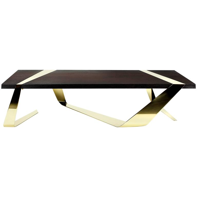 Coffee Table Wood Weng Brass Italy Barberini Gunnell For Sale At 1stdibs