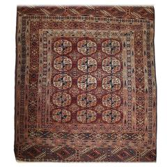 Antique Tekke Turkmen Rug of Fine Weave and Small Square Size, circa 1900