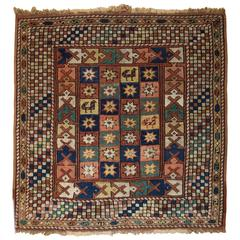 Turkish Bergama Rug of Small Square Size, Fourth Quarter of the 19th Century