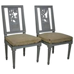 Pair of 18th Century French Painted Side Chairs