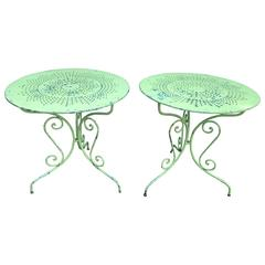 Pair of French Wrought Iron Side or Café Tables
