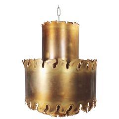 Large Holm Sorensen Danish Mid-Century Brutalist Brass Pendant, 1960s
