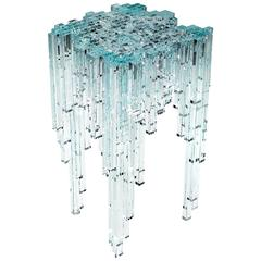 Contemporary design side/ end table in crystal glass