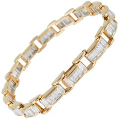 6.85 Carat & 18K Gold, GIA Certified Diamond Bracelet in a Chain Link Style