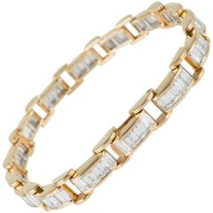 6.85 Carat & 18K Gold, GIA Certified Diamond Bracelet in a Chain Link Style
