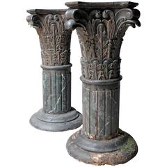 Pair of Carved Pine Faux Marble Painted Corinthian Column Pedestals
