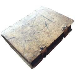 18th Century, 1743, Vellum Book, German with Metal & Hasp Closures