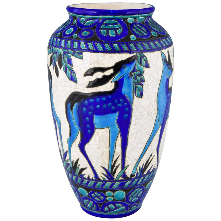 Art Deco Ceramic Vase With Deer Charles Catteau For Boch Freres