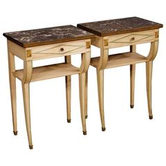 20th Century Pair of French Lacquered Bedside Tables with Marble Top