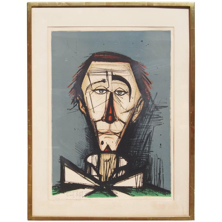 Bernard Buffet, Color Lithograph, Clown Head, 32/120