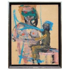 """Mother and Child Blue"" by Herbert Brown, Oil on Board, 1964"