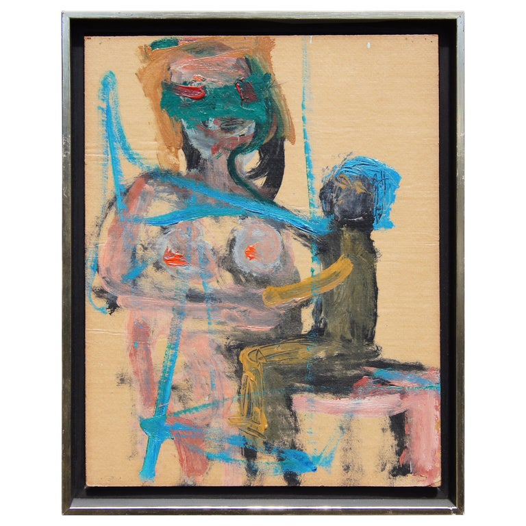 """""""Mother and Child Blue"""" by Herbert Brown, Oil on Board, 1964 For Sale"""