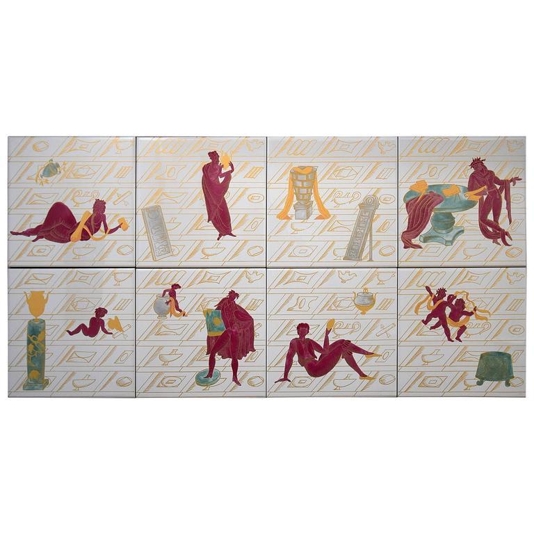Ceramic Tiles with La Conversazione Classica Designed by Gio Ponti
