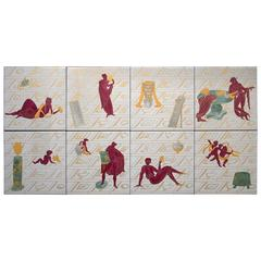 Ceramic Tiles with La Conversazione Classica Designed by Gio Ponti