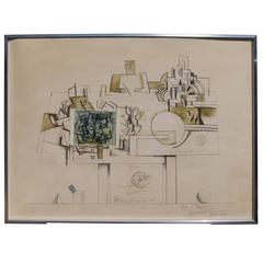"Artist's Proof for ""Braque"" from Six Drawing Tables Portfolio by Saul Steinberg"