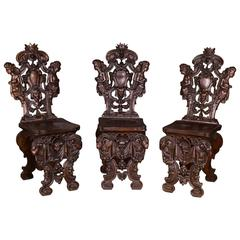 Three Antique Neo-Renaissance Chairs from Venice, 1850