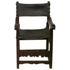 Early 17th Century French Renaissance Chair Original Leather