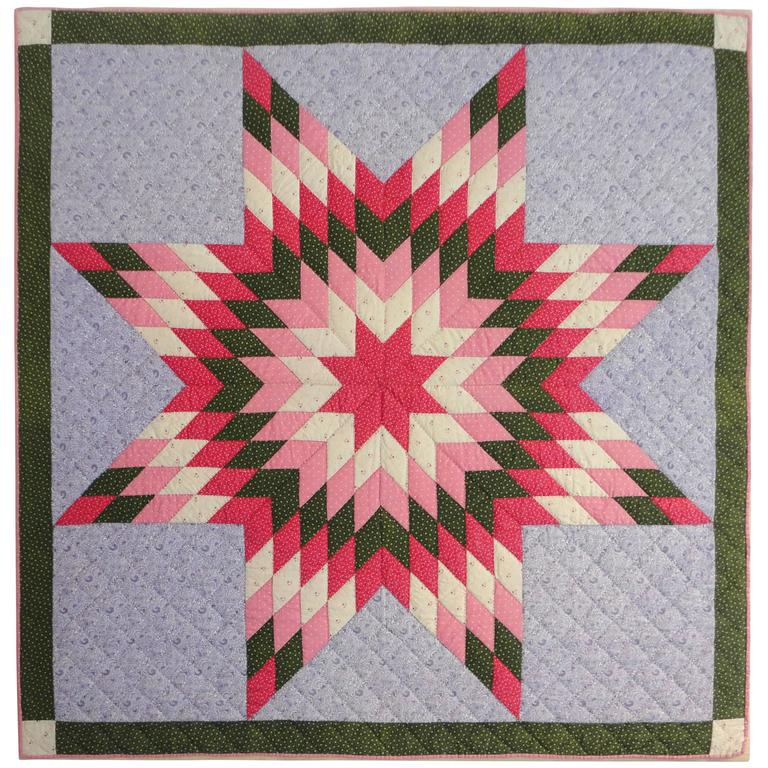 19th Century Eight Point Star Crib Quilt From Berks County