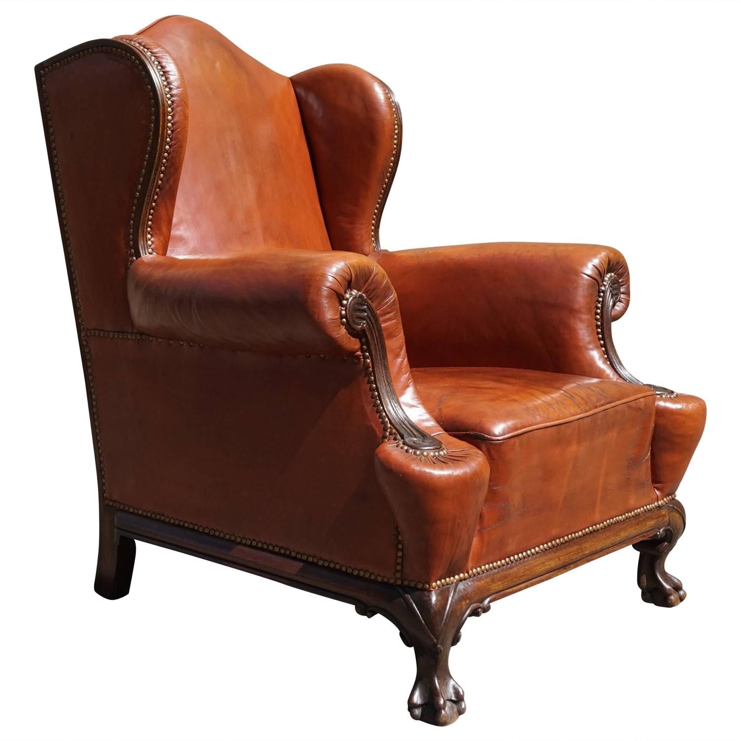 Antique Leather Chippendale Style Wingback Chair With Hand Carved Claw Feet