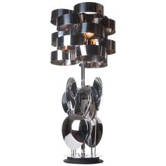 1960s Chrome Table Lamp Attributed to Max Sauze for Sciolari