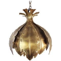 Holm Sorensen Danish Modern Golden Brutalist Brass Onion Pendant, 1960s