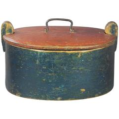 19th Century Scandinavian Painted Blue Red Box Casket Naive Folk Art