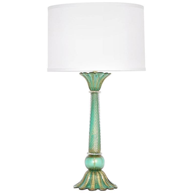 Barovier Cordonato D'Oro Green Murano Glass Lamp