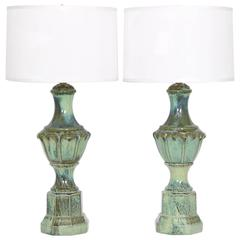 Pair of Mid-Century Majolica Style Porcelain Baluster Lamps