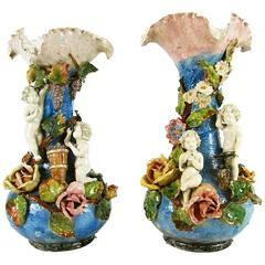 Pair of Italian Blue Pottery Vases with Putti Roses Belle Epoque Barbotine Style