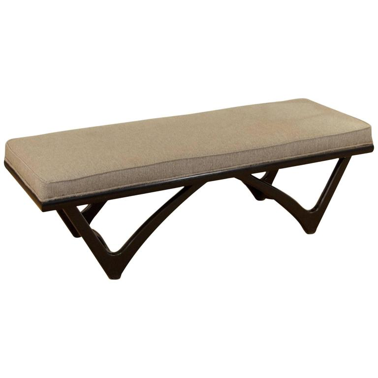 Long upholstered bench with black lacquer base for sale at 1stdibs Long upholstered bench