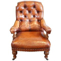 Victorian Leather Button Back Easy Chair