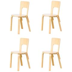 1960s Alvar Aalto Model 66 Dinner Chairs for Artek Set of Four