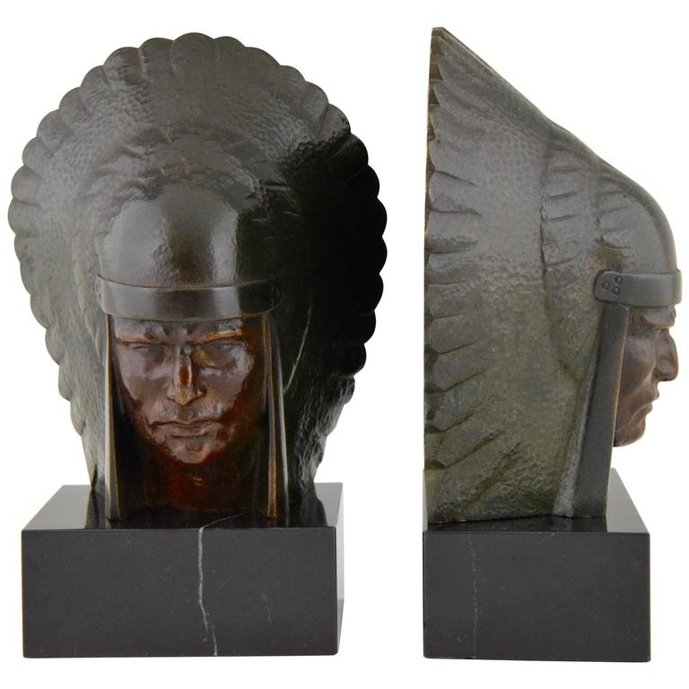 French Art Deco Bronze Indian Head Bookends Georges Garreau, 1930 1