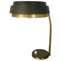 Mid-20th Century Brass and Grey Colored Metal Table Lamp
