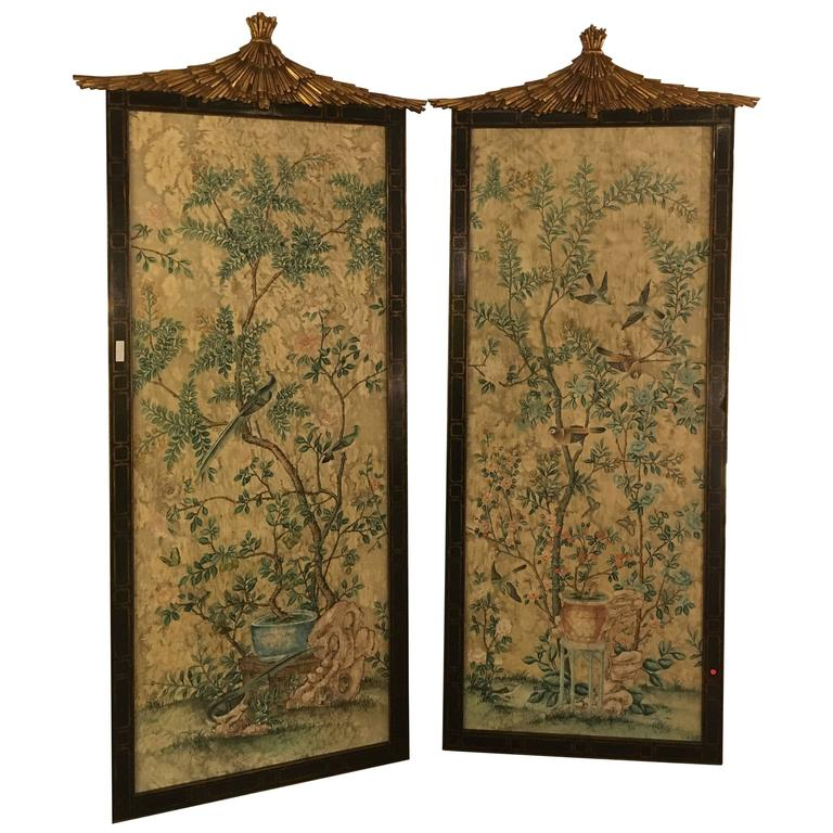 Pair of Monumental Chinoiserie Wall Panels by Dessin Fournir
