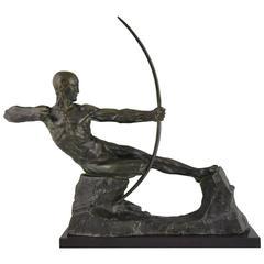 Hercules, French Art Deco Bronze Sculpture Male Nude Archer Victor Demanet, 1925