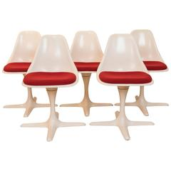 Set of Five Vintage Saarinen Style Dinning Chairs by Burke Inc. of America