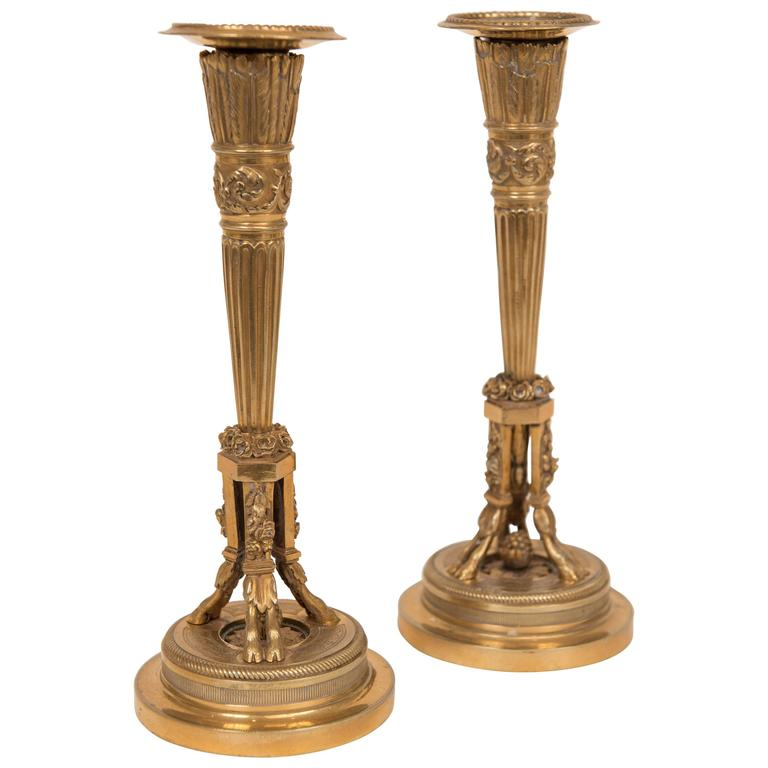 Pair of 20th Century Neoclassical Style Gilt Bronze Candlesticks For Sale
