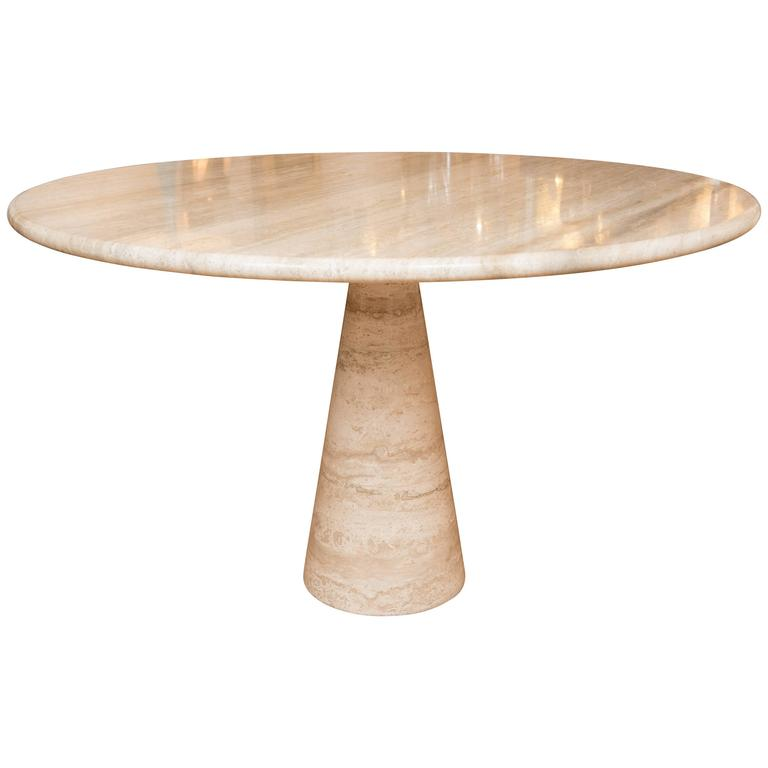 Vintage Travertine Pedestal Table In The Style Of Angelo Mangiarotti For  Sale