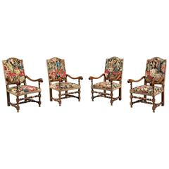Set of Four 17th Century French Armchairs