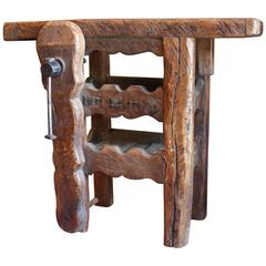 French Wine Table Work Bench with Vise