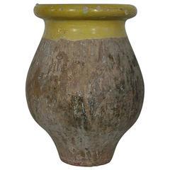 Small French 19th Century Glazed Terracotta Biot Olive Oil Jar