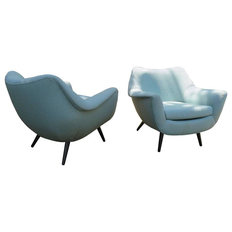 Gorgeous Pair of Lawrence Peabody Barrel Back Tub Chairs, Mid-Century Modern