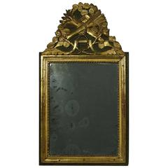 Small 18th Century French Louis XVI Baroque Giltwood Mirror