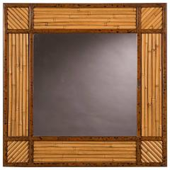 Vintage French Square Rattan Bamboo Framed Mirror, circa 1960